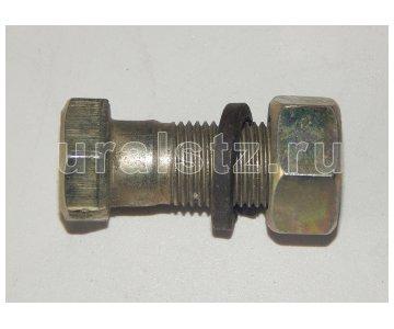 На изображении - деталь 853025  Болт М16х1,5х42 карданный (гайка+гровер) (КАМАЗ)